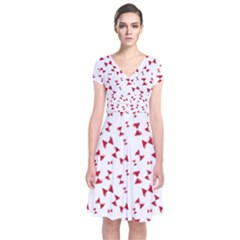 Hour Glass Pattern Red White Triangle Short Sleeve Front Wrap Dress