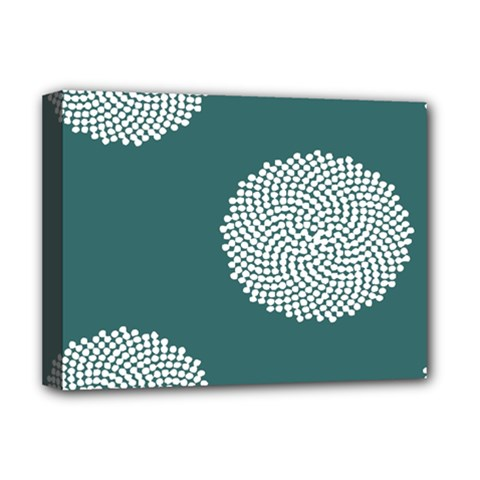 Green Circle Floral Flower Blue White Deluxe Canvas 16  X 12   by Alisyart