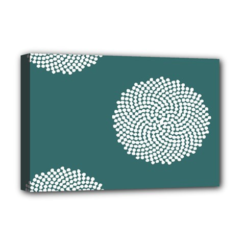 Green Circle Floral Flower Blue White Deluxe Canvas 18  X 12