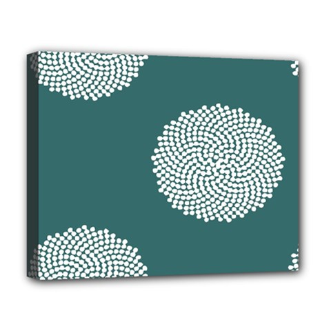 Green Circle Floral Flower Blue White Deluxe Canvas 20  X 16   by Alisyart