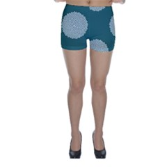 Green Circle Floral Flower Blue White Skinny Shorts by Alisyart