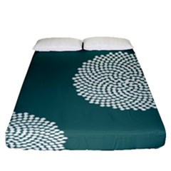 Green Circle Floral Flower Blue White Fitted Sheet (queen Size)