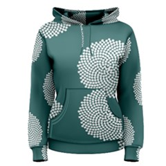 Green Circle Floral Flower Blue White Women s Pullover Hoodie