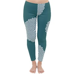 Green Circle Floral Flower Blue White Classic Winter Leggings