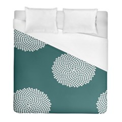 Green Circle Floral Flower Blue White Duvet Cover (full/ Double Size) by Alisyart