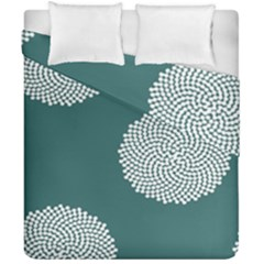 Green Circle Floral Flower Blue White Duvet Cover Double Side (california King Size)