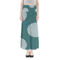 Green Circle Floral Flower Blue White Maxi Skirts by Alisyart