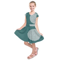 Green Circle Floral Flower Blue White Kids  Short Sleeve Dress by Alisyart