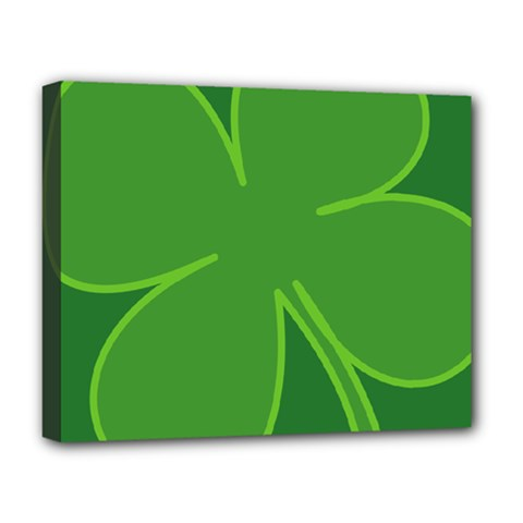 Leaf Clover Green Deluxe Canvas 20  X 16   by Alisyart