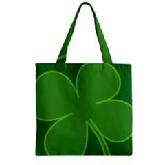 Leaf Clover Green Zipper Grocery Tote Bag