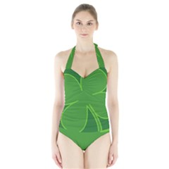 Leaf Clover Green Halter Swimsuit