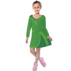 Leaf Clover Green Kids  Long Sleeve Velvet Dress by Alisyart