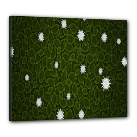 Graphics Green Leaves Star White Floral Sunflower Canvas 24  X 20
