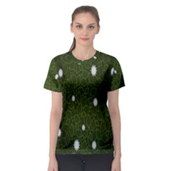 Graphics Green Leaves Star White Floral Sunflower Women s Sport Mesh Tee
