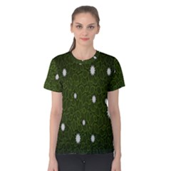 Graphics Green Leaves Star White Floral Sunflower Women s Cotton Tee