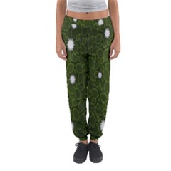Graphics Green Leaves Star White Floral Sunflower Women s Jogger Sweatpants by Alisyart