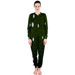 Graphics Green Leaves Star White Floral Sunflower Onepiece Jumpsuit (ladies)