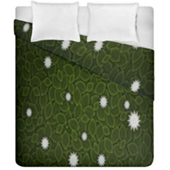 Graphics Green Leaves Star White Floral Sunflower Duvet Cover Double Side (california King Size) by Alisyart