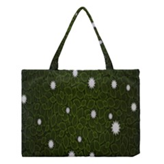 Graphics Green Leaves Star White Floral Sunflower Medium Tote Bag by Alisyart