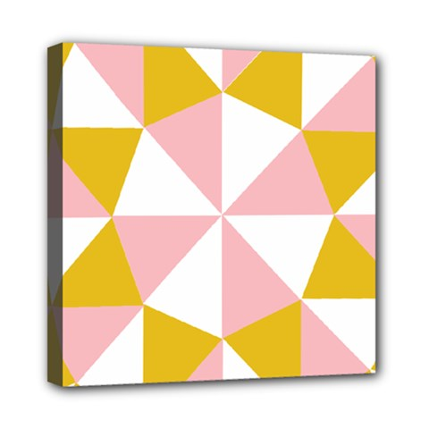 Learning Connection Circle Triangle Pink White Orange Mini Canvas 8  X 8  by Alisyart