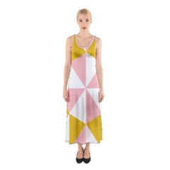 Learning Connection Circle Triangle Pink White Orange Sleeveless Maxi Dress