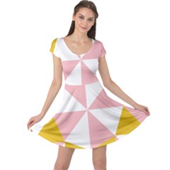 Learning Connection Circle Triangle Pink White Orange Cap Sleeve Dresses