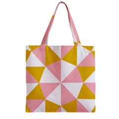 Learning Connection Circle Triangle Pink White Orange Zipper Grocery Tote Bag