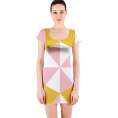 Learning Connection Circle Triangle Pink White Orange Short Sleeve Bodycon Dress