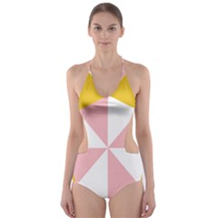 Learning Connection Circle Triangle Pink White Orange Cut Out One Piece Swimsuit