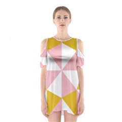 Learning Connection Circle Triangle Pink White Orange Shoulder Cutout One Piece