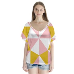 Learning Connection Circle Triangle Pink White Orange Flutter Sleeve Top