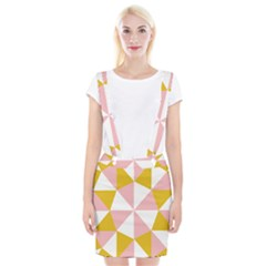 Learning Connection Circle Triangle Pink White Orange Suspender Skirt