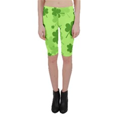 Leaf Clover Green Line Cropped Leggings  by Alisyart