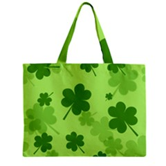 Leaf Clover Green Line Zipper Mini Tote Bag by Alisyart