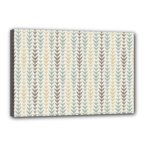 Leaf Triangle Grey Blue Gold Line Frame Canvas 18  X 12  by Alisyart