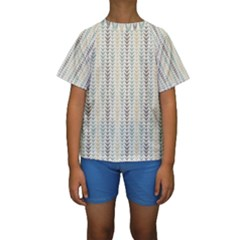 Leaf Triangle Grey Blue Gold Line Frame Kids  Short Sleeve Swimwear by Alisyart
