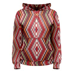 Indian Pattern Sweet Triangle Red Orange Purple Rainbow Women s Pullover Hoodie