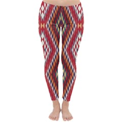 Indian Pattern Sweet Triangle Red Orange Purple Rainbow Classic Winter Leggings