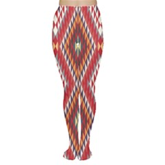 Indian Pattern Sweet Triangle Red Orange Purple Rainbow Women s Tights