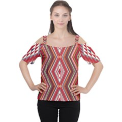 Indian Pattern Sweet Triangle Red Orange Purple Rainbow Women s Cutout Shoulder Tee by Alisyart