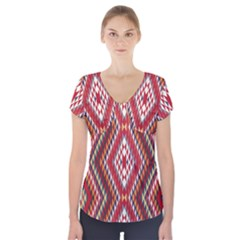 Indian Pattern Sweet Triangle Red Orange Purple Rainbow Short Sleeve Front Detail Top by Alisyart