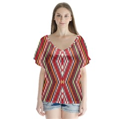 Indian Pattern Sweet Triangle Red Orange Purple Rainbow Flutter Sleeve Top