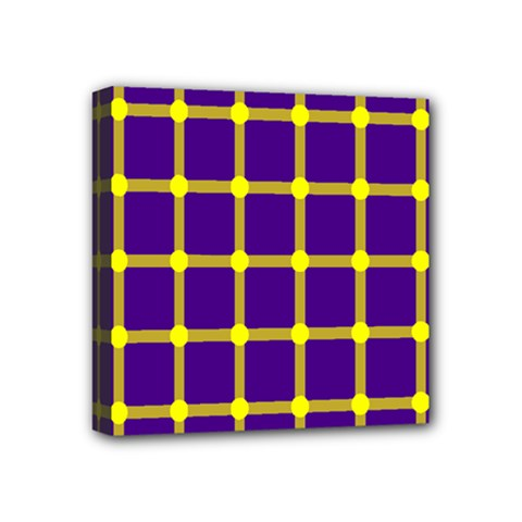 Optical Illusions Circle Line Yellow Blue Mini Canvas 4  X 4