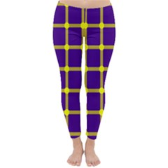Optical Illusions Circle Line Yellow Blue Classic Winter Leggings