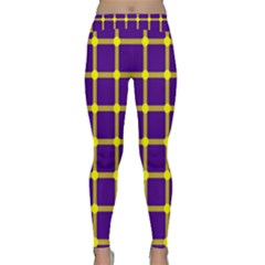 Optical Illusions Circle Line Yellow Blue Classic Yoga Leggings by Alisyart