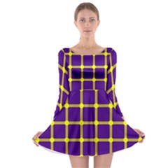 Optical Illusions Circle Line Yellow Blue Long Sleeve Skater Dress
