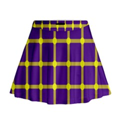 Optical Illusions Circle Line Yellow Blue Mini Flare Skirt