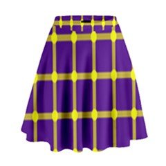 Optical Illusions Circle Line Yellow Blue High Waist Skirt