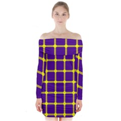 Optical Illusions Circle Line Yellow Blue Long Sleeve Off Shoulder Dress