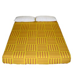 Plaid Line Orange Yellow Fitted Sheet (california King Size) by Alisyart